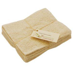 5 carrés bébés lavables coton bio